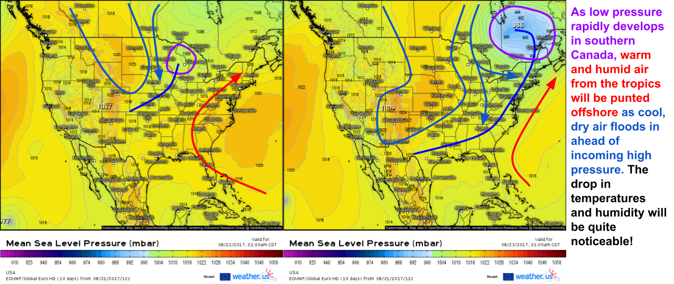 Cooler Weather Set To Arrive Over The Eastern US This Week Blog - Map of southern canada and northern us