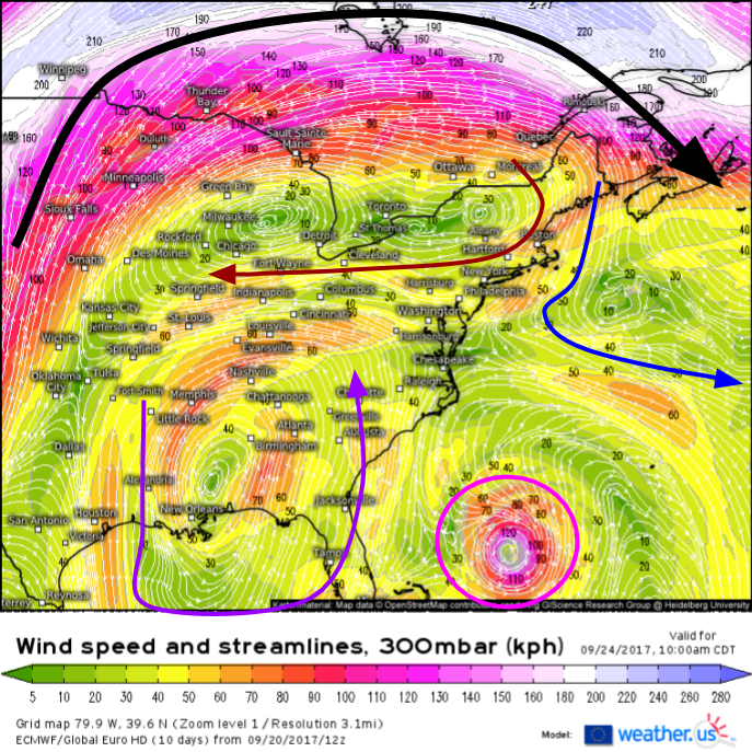 The Main Jet Stream Is Well North Of Maria All The Way Up In Canada Black Arrow This Means That Smaller More Subtle Features Will Play A Bigger Role In