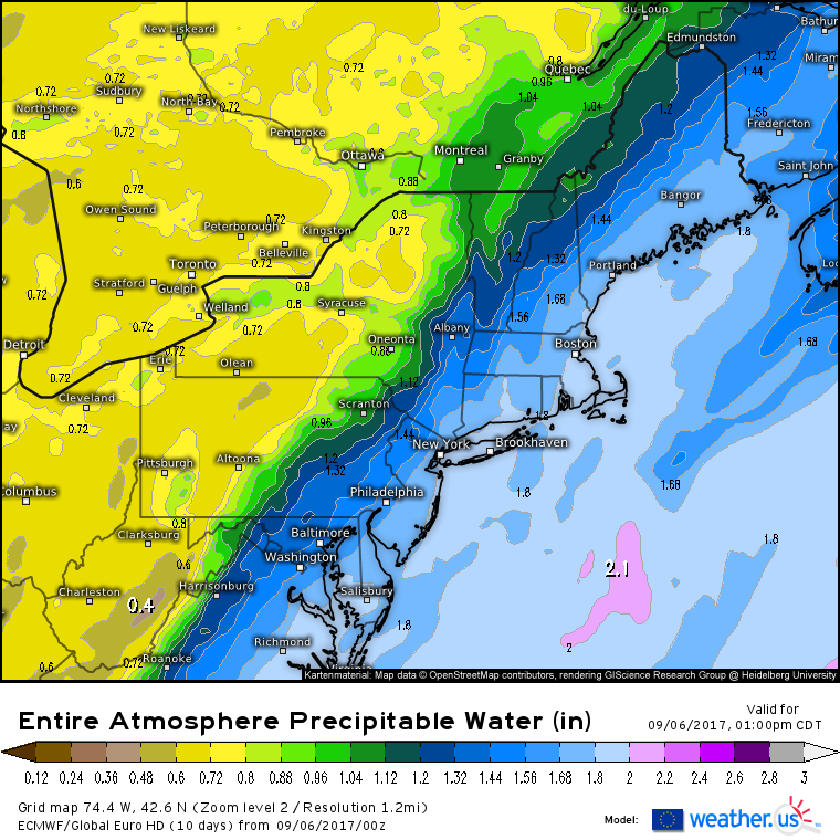 this is a map from the ecmwf model showing the amount of moisture in the air this afternoon generally values here above 1 are supportive of heavy rains