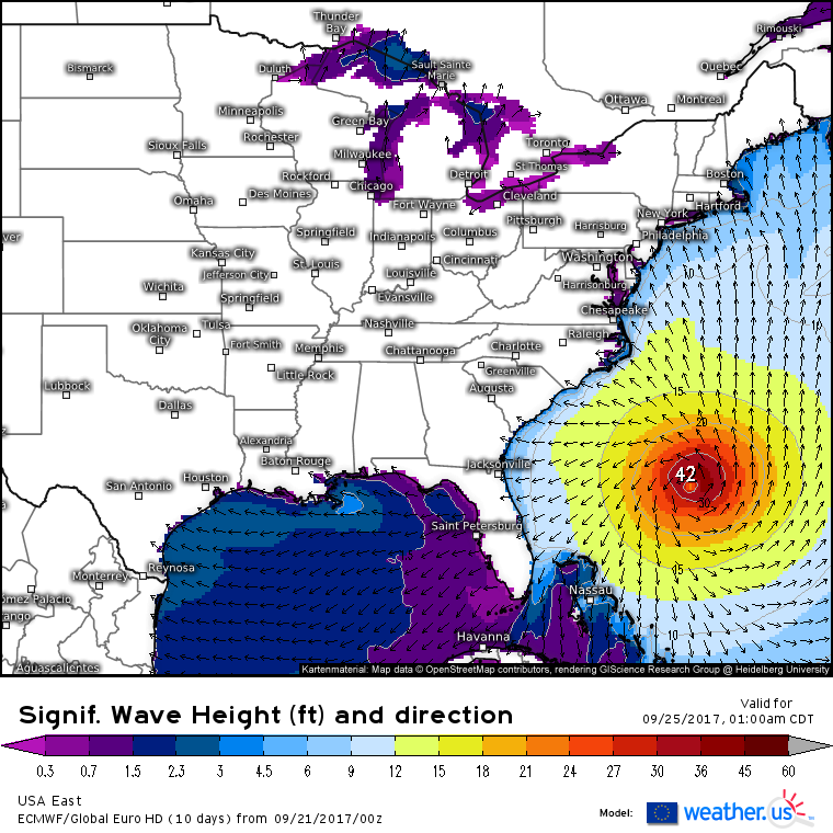 Large Hurricane Maria Moving Away From Puerto Rico Blogweatherus - Map Of Long Term Weather Across The Us