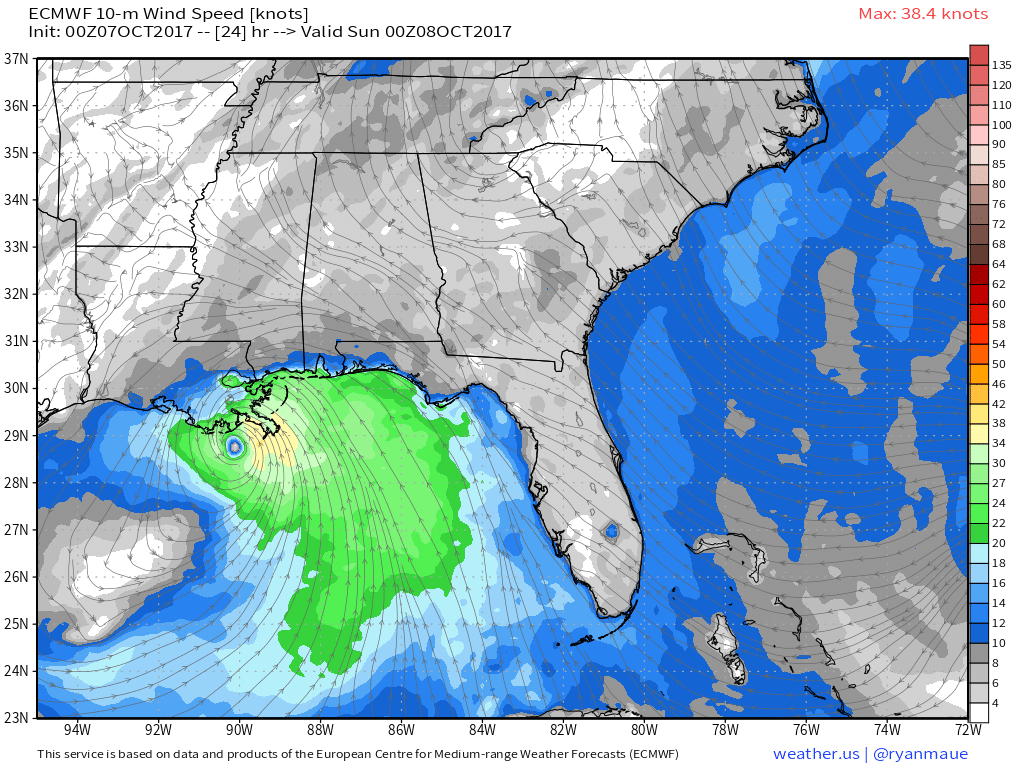 Hurricane Nate Racing North Towards New Orleans Blogweatherus - Us wind direction map