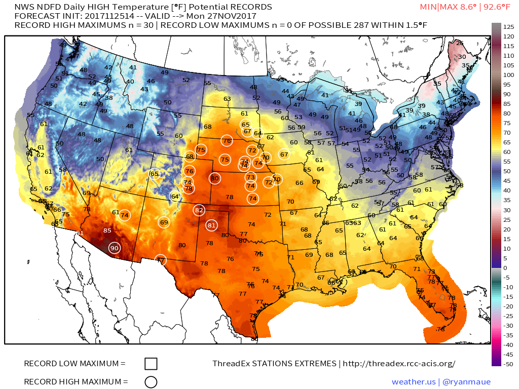 USA State Temperatures Mapped For Each Season Current Results - Us weather map tomorrow