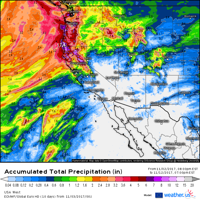 this aculated precipitation map for the next 10 days highlights the results of the atmospheric river widespread heavy rainfall totals of several inches