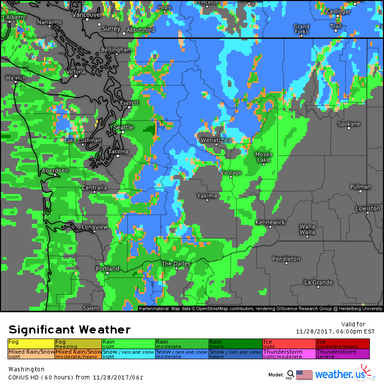 Snow Levels Fall Across The Pacific Northwest While The Rest Of - Us weather map today