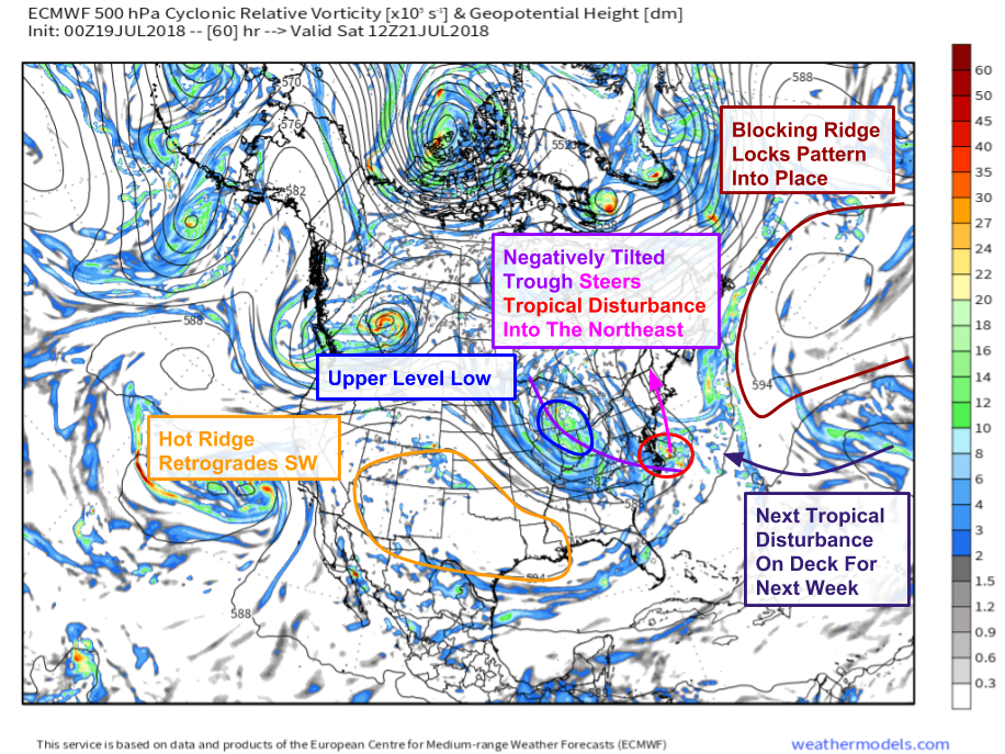 Deep Tropical Moisture To Stream Up The East Coast This