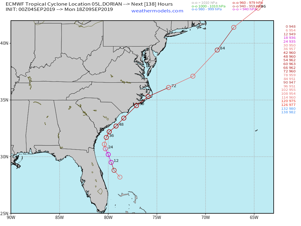 9-2-19 Major Hurricane Dorian Live Tracking Blog – blog